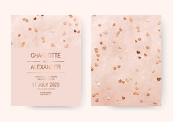 Romantic pink acrylic wedding invitation cards with rose gold hearts confetti.