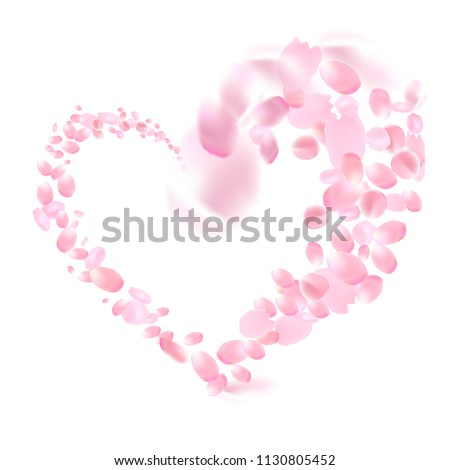 Romantic pink petals heart design. Flower petals wallpaper. Sakura flying petals isolated on white background. Petals Roses Flowers. Vector illustration