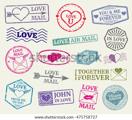 romantic postage stamp for