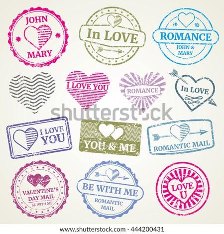 romantic postage stamp vector