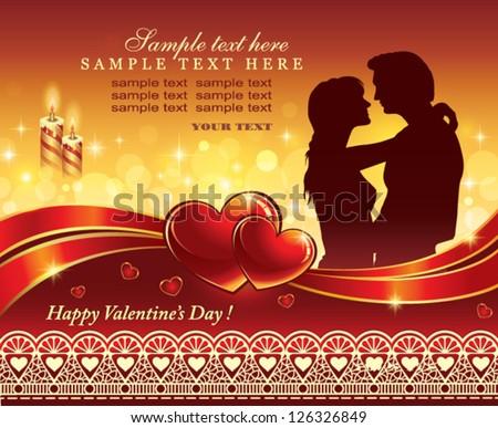 romantic postcard - stock vector