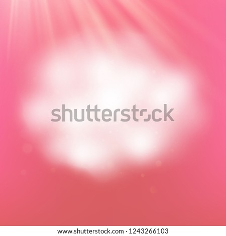 Romantic realistic style cloud on pink background. Fluffy cloud borders with transparency. EPS 10