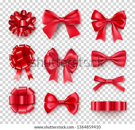 Romantic red gift bows with ribbons. Realistic decoration for holidays presents and cards. Elegant object from silk vector illustration. Chrismas or birthday decor isolated on transparent background
