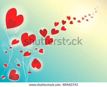 Romantic red heart flowers under the sun background