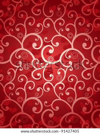 Romantic seamless background with curls and hearts