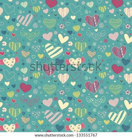 romantic seamless doodle floral