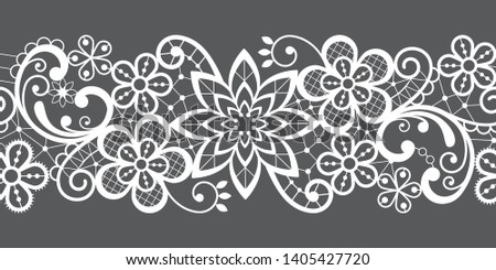 Romantic seamless lace vector pattern, decorative textile or embroidery design in white on gray background. Embroidery decoration inspired by French and English lace art, vintage style - wedding, Vale