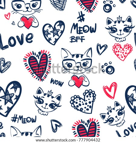 Romantic seamless pattern cat wear glasses, and princess pussy kitty with crown. Set of sketch heart elements. Valentine's day. Love repeated backdrop for girl, textile, clothes, wrapping paper.