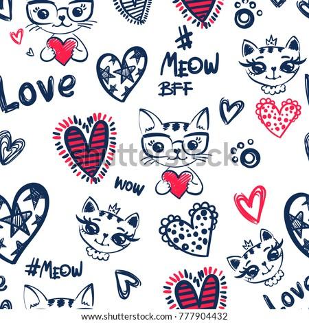 romantic seamless pattern cat