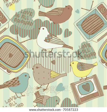 romantic seamless pattern with birds and retro tv