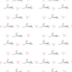 Romantic Seamless Pattern with hand written words Love and ink hearts on pink. Happy Valentine's Day concept vector illustration trendy design. Backdrop for wrapping paper, invitations, greeting cards