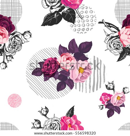romantic seamless pattern with