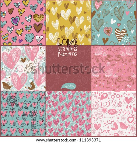 Romantic seamless patterns Vector set Cartoon patterns for cute wallpapers