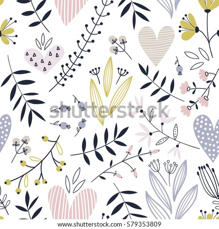 romantic seamless vector floral