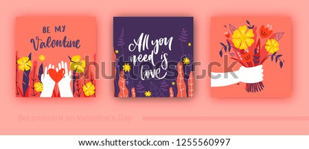 Romantic set of postcard. Love, Valentines Day. Vector design concept for Valentines Day and other users.