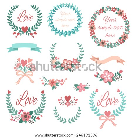 Romantic set with labels, ribbons, hearts and flowers  #246191596