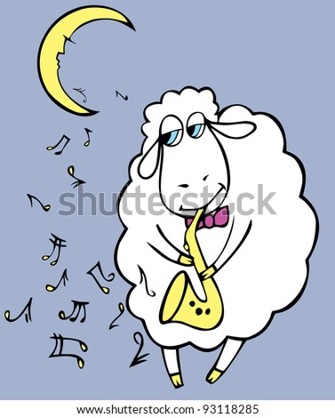 Romantic sheep with saxophone