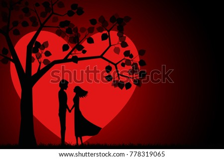 romantic silhouette of a loving