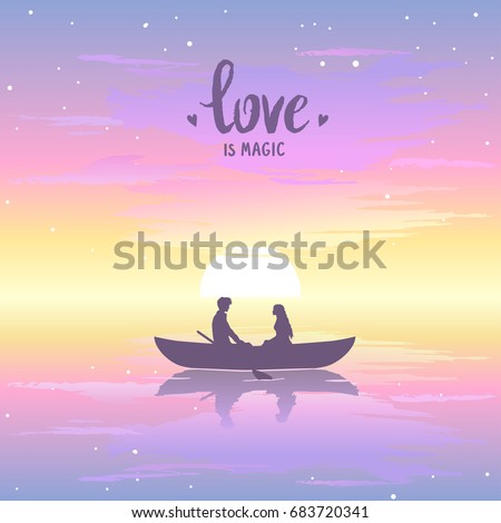 romantic silhouette of loving