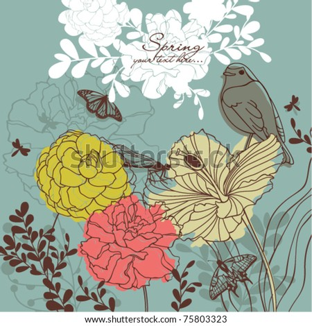 romantic spring card - stock vector