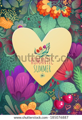 Romantic Summer and Mother's Day Spring ans Summer Greeting Card Heart Shape