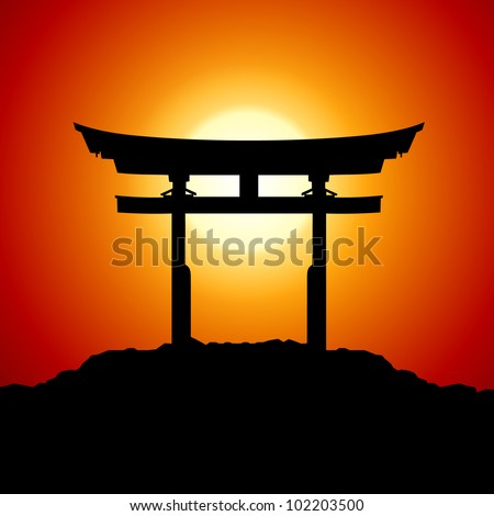 Romantic Sunset with japan gate