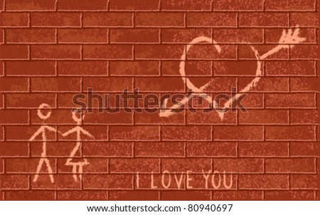 romantic symbols on red brick