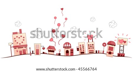 romantic urban scene   vector