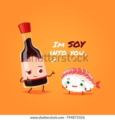 Romantic Valentine's Day Card. Cute Kawaii Characters. Vector Illustration. Cartoon style. Funny pun quote. Sushi and soy sauce.