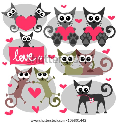 Romantic valentine set with cats