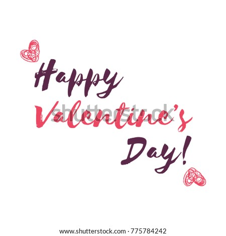 "Romantic Valentines day love greeting card with pink hearts. Vector illustration - love day. Card for February 14. The inscription ""Happy Valentines Day."" Be my valentine. Calligraphic inscription #775784242"