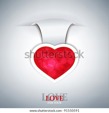 romantic vector background with a red heart