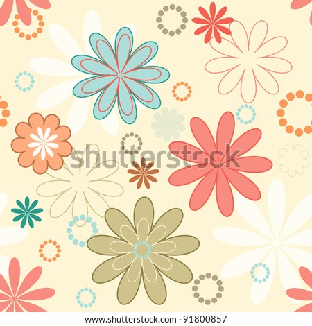 Romantic Vector Background With Simple Flowers