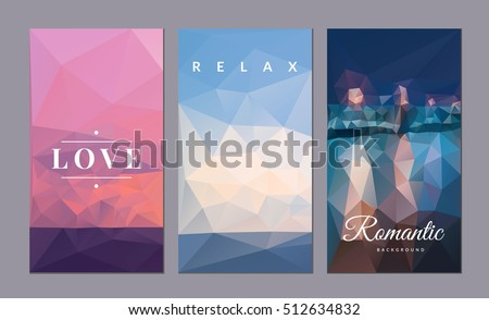 romantic vector card set