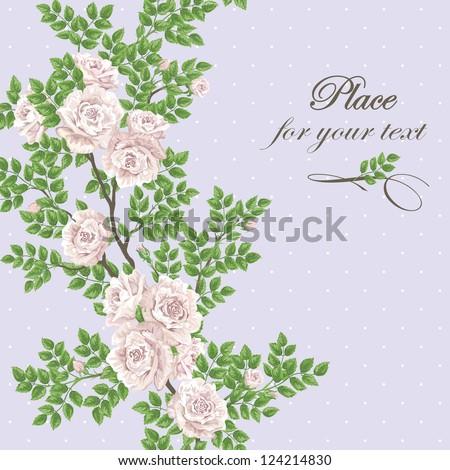 romantic vector card with tea