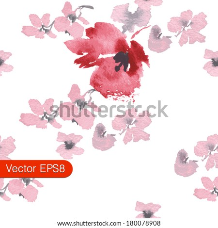 romantic vector floral seamless texture red and pink flowers blossoms flowers sakura Japanese cherry seamless texture of the petals of cherry