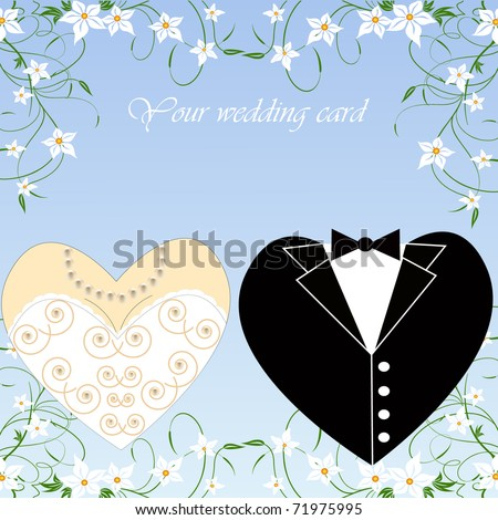 romantic vector wedding set for greeting card