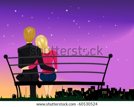 Romantic View of a Male and Female Couple Gazing at the Night Sky While Cuddling With Each Other - Vector