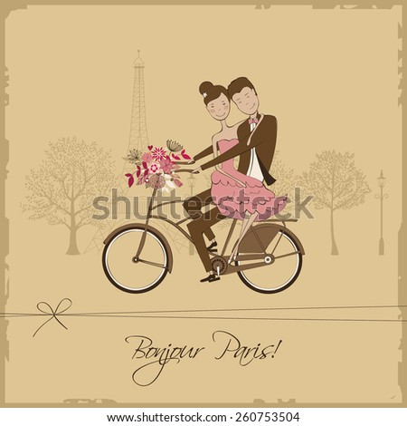 romantic vintage card with cute