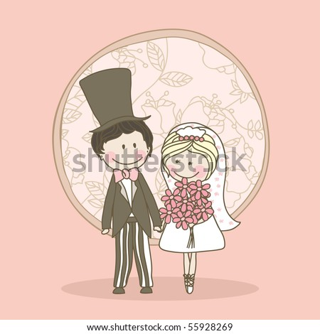 romantic wedding set - couple standing and holding hands - stock vector