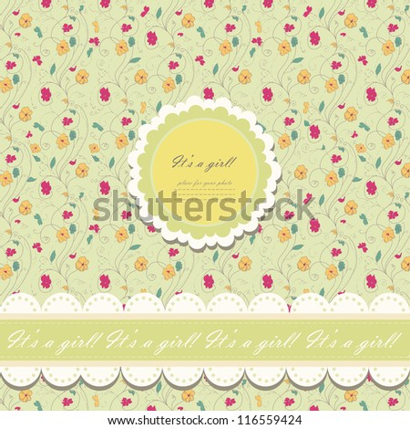 Romantic yellow scrapbooking with text for invitation, greeting, happy birthday, label, postcard, frame, baby seamless, child posrcard, children pattern, clip art, holiday, gift and etc, vector eps 8