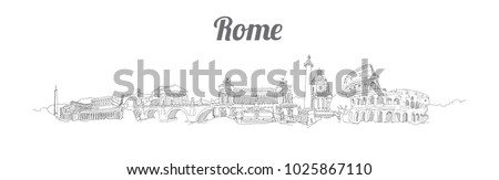 rome city panoramic vector hand