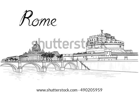 rome cityscape with st peter's