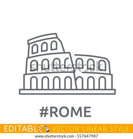 rome  coliseum editable line