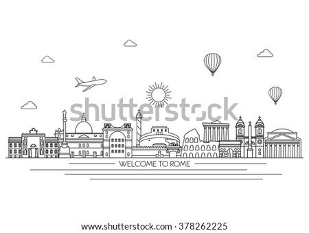 rome detailed skyline travel