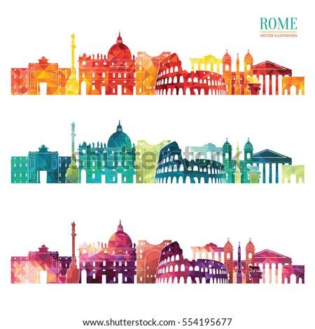rome detailed skyline travel