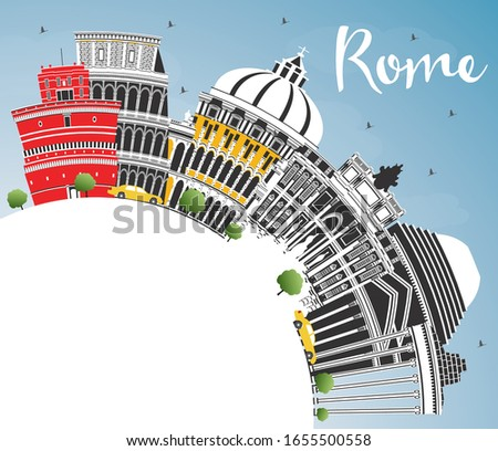 Rome Italy City Skyline with Color Buildings, Blue Sky and Copy Space. Vector Illustration. Business Travel and Concept with Historic Architecture. Rome Cityscape with Landmarks.