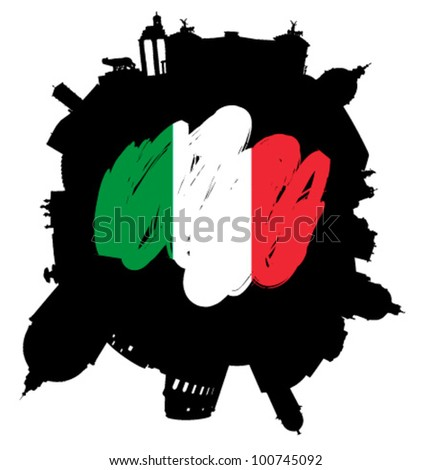 Rome planet: vector Rome silhouette skyline with flag