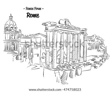rome roman forum sketch famous