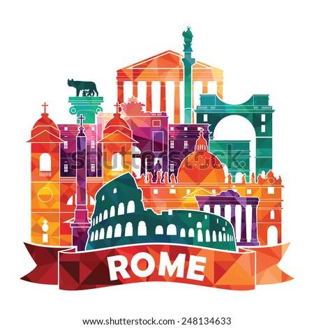 rome skyline vector